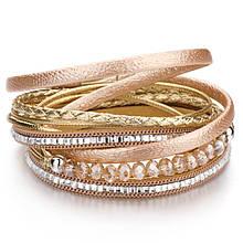 Стильний багатошаровий шкіряний браслет золотий