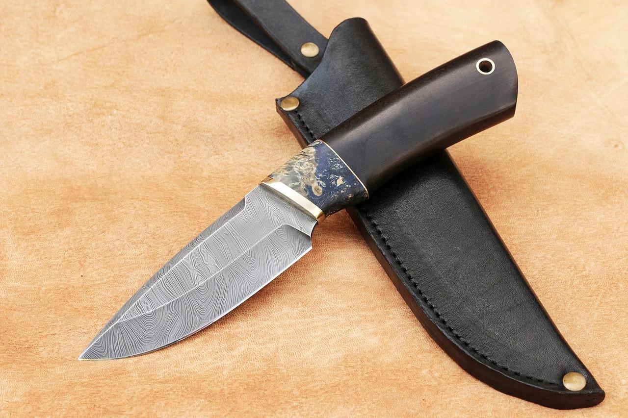 "Нож ручной работы для охоты ""Коротыш"", дамасск, 228мм"
