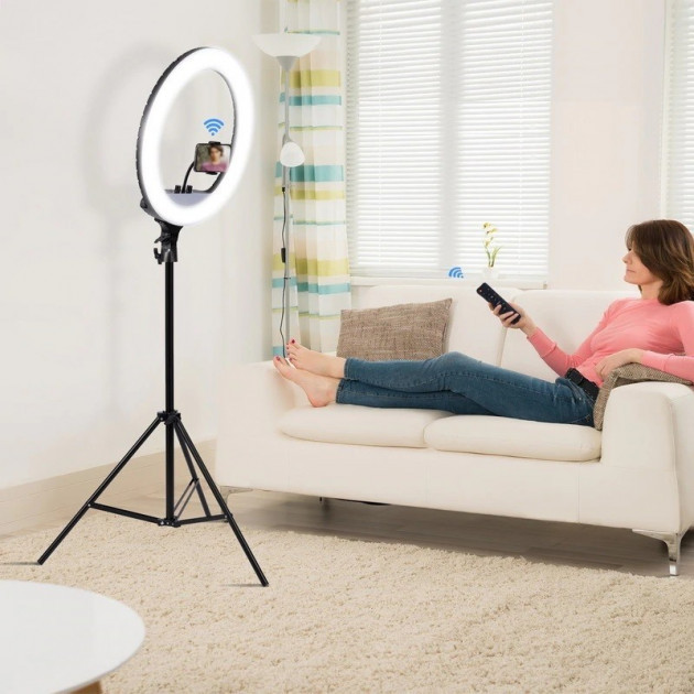 Кольцевая лампа со штативом 2.1м кольцевой свет для визажистов YQ-460D диаметр 45см с держателем