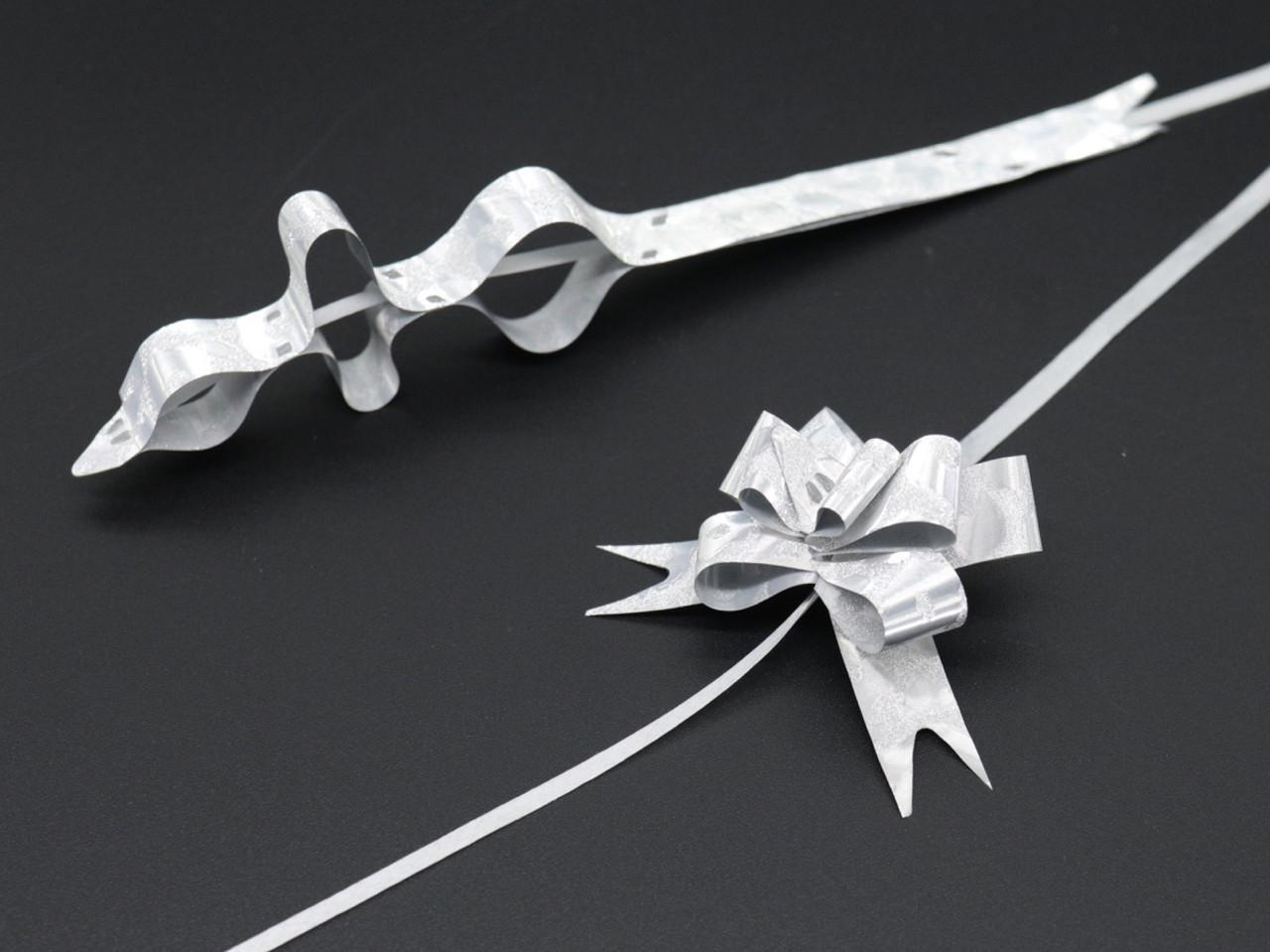 Подарочные банты на затяжках. Цвет серебро.