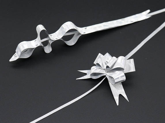 Подарочные банты на затяжках. Цвет серебро., фото 2