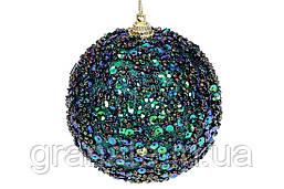 Елочый шар 8см, цвет - зелёный павлин (16шт)