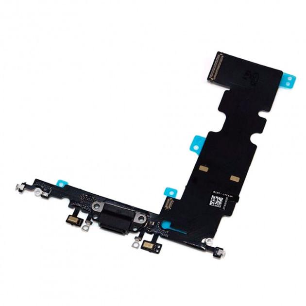 Шлейф для iPhone 8 Plus + роз'єм зарядки + роз'єм гарнітури (чорний)