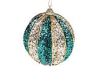 Елочый шар рельефной формы 10см, цвет - зелёный с шампанью (12шт)