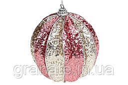 Елочый шар рельефной формы 10см, цвет - розовый с шампанью (12шт)