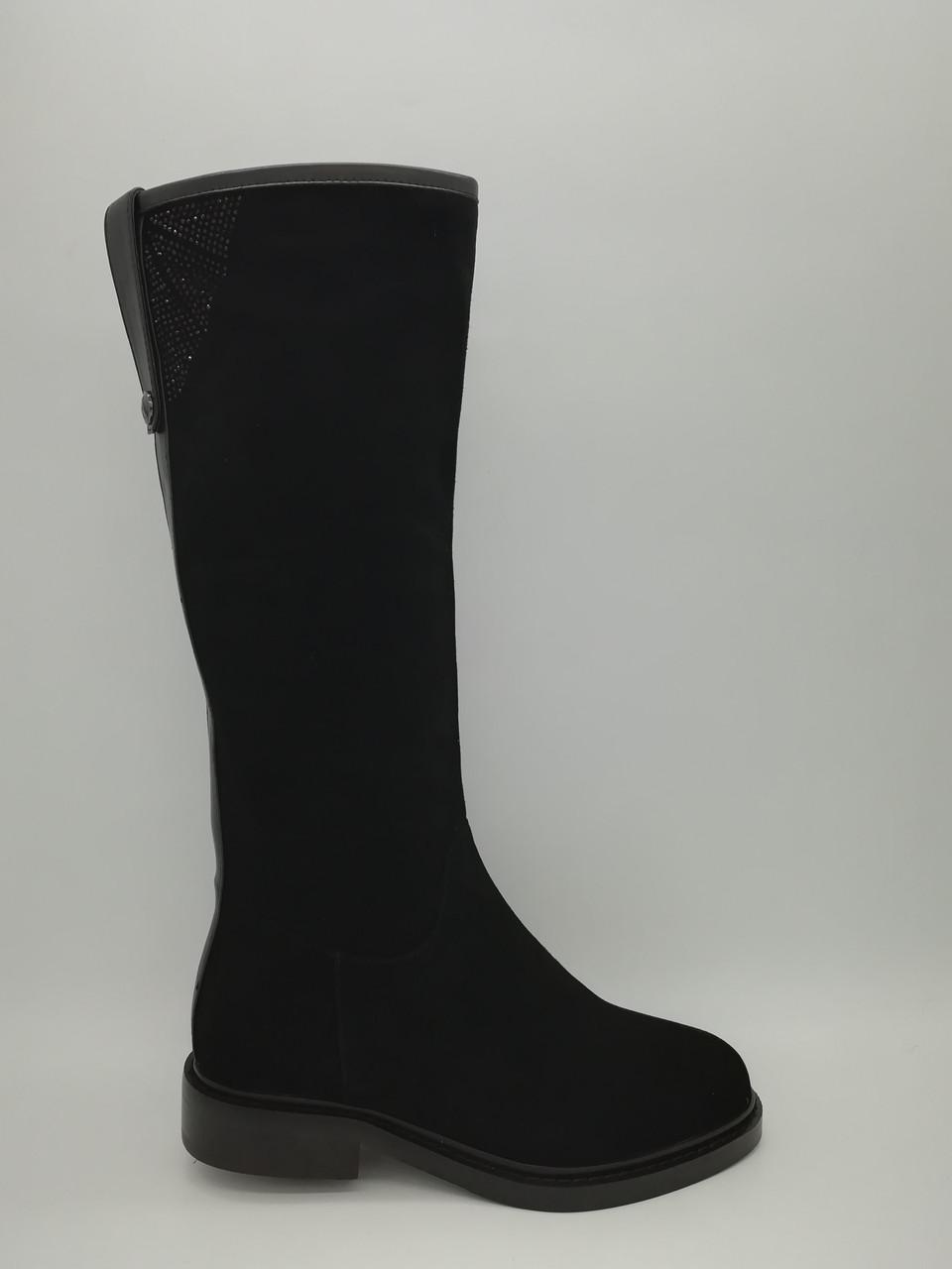 Чорні замшеві зимові чоботи. Маленькі розміри (33-35).