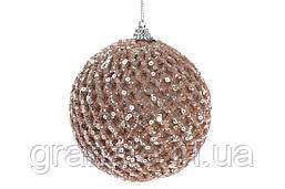 Елочный шары 10 см, цвет - шампань 12шт