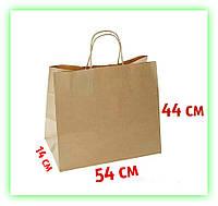 Большой бумажный подарочный Крафт пакет с ручками 540х140х440 - коричневый (25 шт. в уп.)