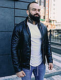 Мужская осенняя куртка, черная кожаная мужская куртка, фото 6