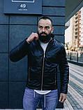 Мужская осенняя куртка, черная кожаная мужская куртка, фото 2