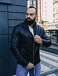 Мужская осенняя куртка, черная кожаная мужская куртка, фото 4