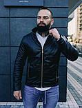 Мужская осенняя куртка, черная кожаная мужская куртка, фото 5