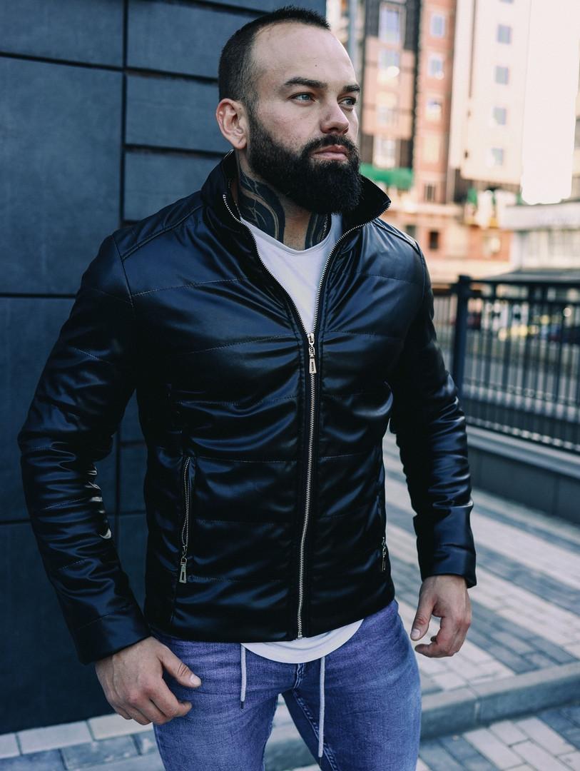 Мужская осенняя куртка, черная кожаная мужская куртка