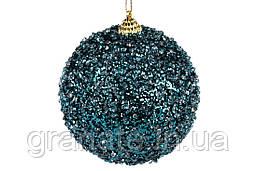 Елочый шар 10см, цвет - индиго с покрытием лед (12шт)