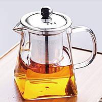 Прямоугольный Стеклянный Заварочный Чайник 900 мл.
