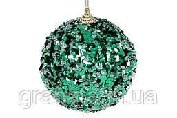 Елочый шар с золотой нитью 10см, цвет - зелёный (12шт)