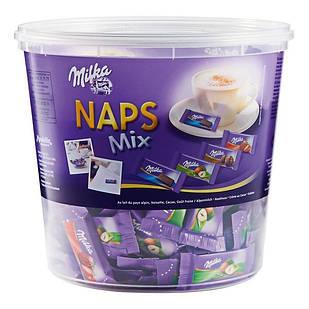 Шоколадні цукерки Milka Naps Mix асорті, відро 1 кг.