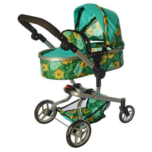 Детская коляска для куклы классика 9695 Melogo бирюзовая с цветами, люлька