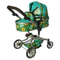 Детская коляска для куклы классика 9695 Melogo бирюзовая с цветами, люлька, фото 1