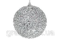 Елочный шар, цвет: серебристый 10см (12шт)