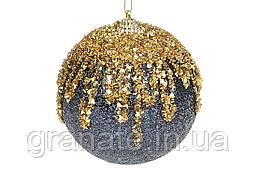 Елочый шар 10см c золотым декором, цвет - синий с золотом (12шт)