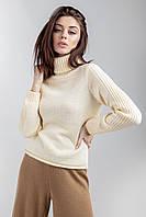Женский элегантный свитер из средней толщины в цвете экрю, фото 1