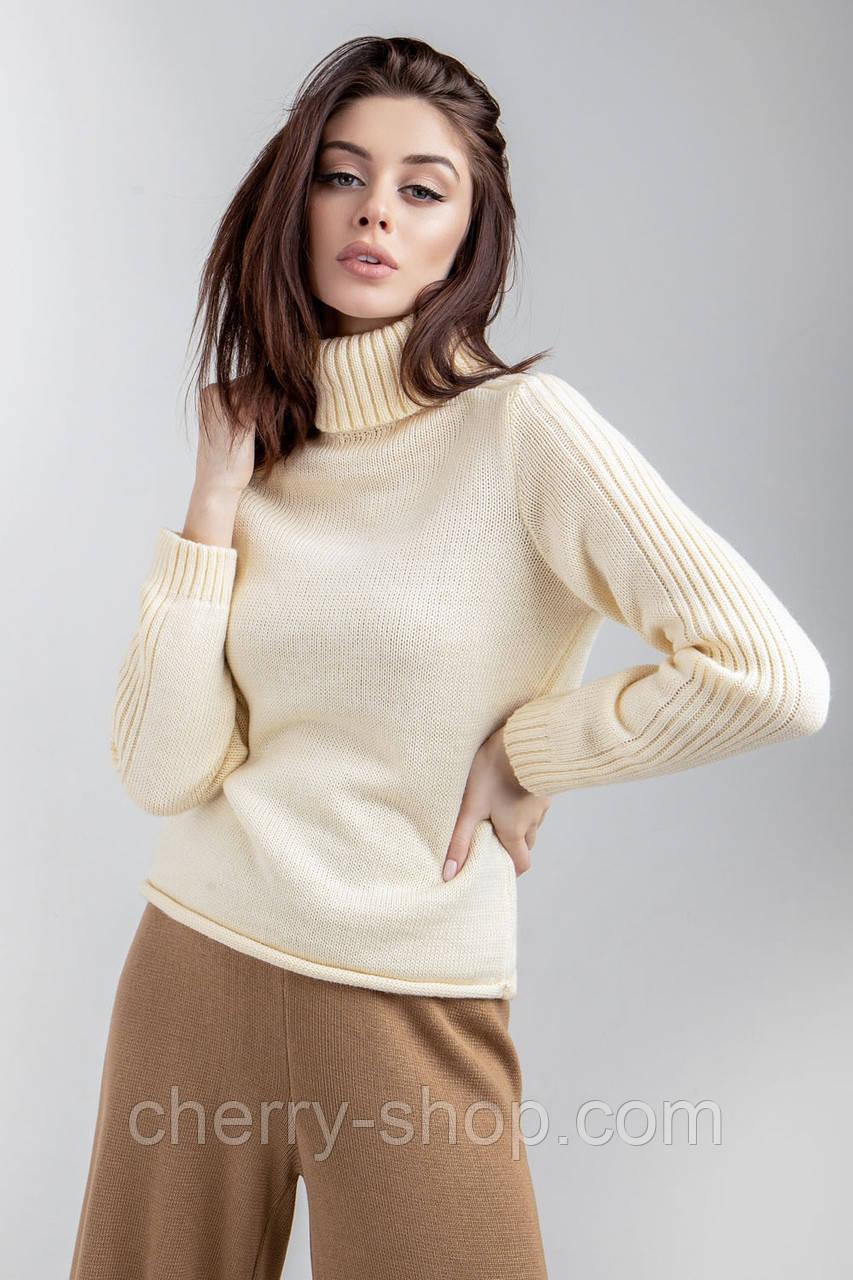 Женский элегантный свитер из средней толщины в цвете экрю