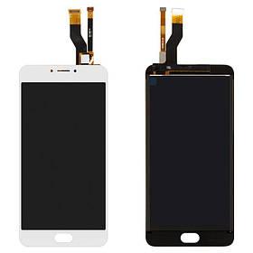 Дисплей (экран) для Meizu M3 Note (M681C) с сенсором (тачскрином) белый Оригинал
