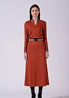 Стильное трикотажное терракотовое платье длины миди Lesya Стеми 6