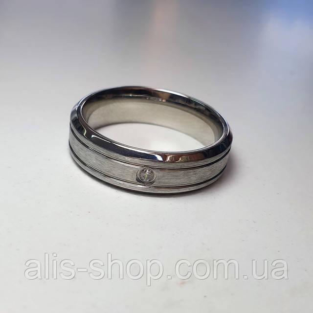 Обручальное кольцо с камушками 18 размер покрытие родием