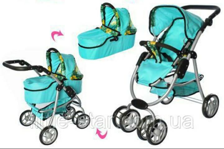 Детская модульная коляска для куклы классика 9662М Melogo, корзина, люлька,повор. колеса, бирюзовый
