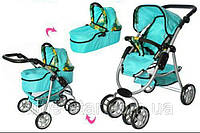 Детская модульная коляска для куклы классика 9662М Melogo, корзина, люлька,повор. колеса, бирюзовый, фото 1