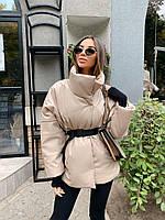 (р. 42-50) Женская демисезонная кожаная куртка с воротником - стойкой и поясом n-10231KK