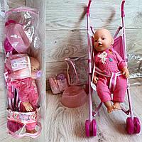 Пупс с коляской и аксессуарами Пупс RT07-02CDZ-ABC горщик, підгузники, пляшечка, каша, коляска, сумка