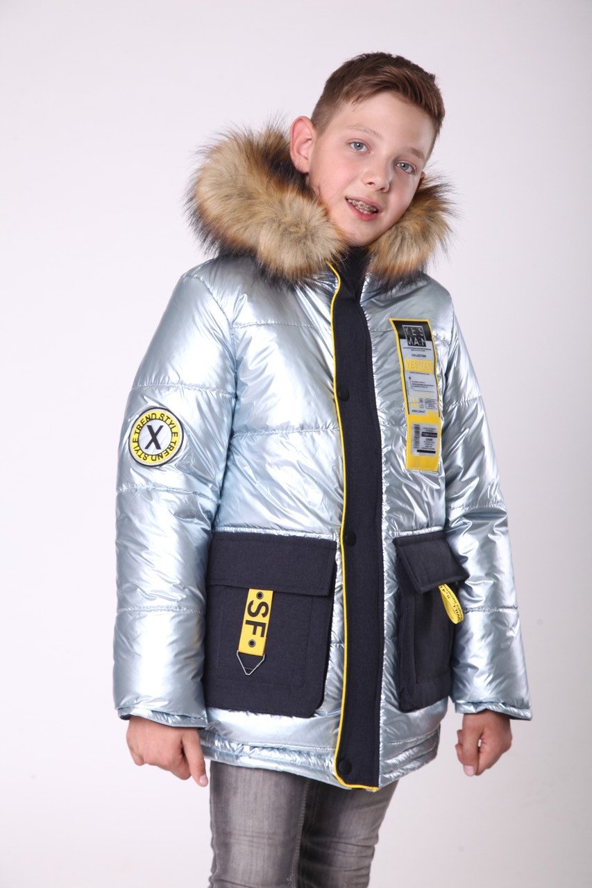 Зимняя куртка парка для мальчика подростка   34-44 голубой