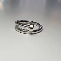 Классическое кольцо родий с сапфирово-синим и прозрачными фианитами, 16.5