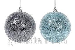 Елочные шары с покрытием лёд - голубой и графитный 8 см (16шт)