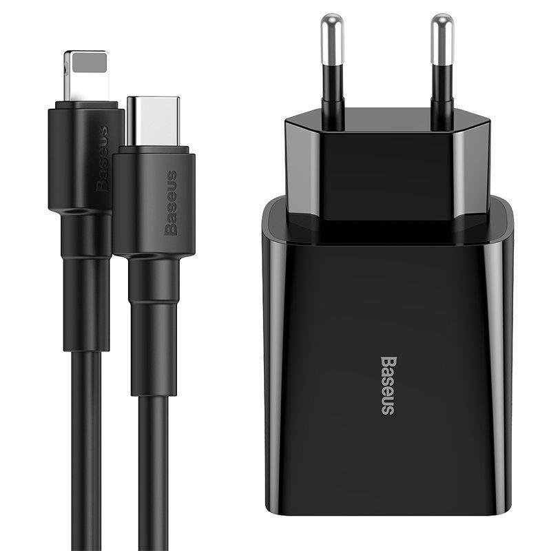 Сетевое зарядное устройство Baseus Speed Mini 3A + кабель Type-C to Lightning (TZCCFS-X01) Black