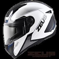 Мотошлем Zeus ZS-811 Синий белый AL6 Чёрный