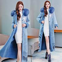Бархатное, зимнее пальто с мехом,дублёнка 2 цвета, фото 1