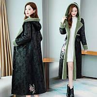 Женская бархатная куртка, зимнее пальто в стиле ретро с принтом и утепленным бархатом 2 цв, фото 1