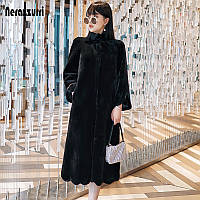 Длинное меховое пальто ,женская шуба из искусственного меха, фото 1