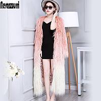 Шерстяное пальто ,женская зимняя длинная модная градиентная  шуба, фото 1