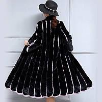 Женская шуба , женское пальто с воротником-стойкой в полоску 2 цв, фото 1