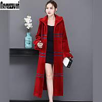 Женское длинное пальто для стрижки овец Haining, длинное пальто выше колена с капюшоном, 2019, новое толстое полосатое пальто с длинными рукавами и, фото 1