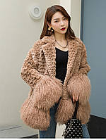 Женское пальто шуба с кроличьим мехом 4 цвета, фото 1