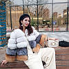 Зимняя модная короткая шуба из высококачественного импортного лисьего меха с 3 х цветная