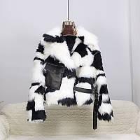 Женская короткая меховая куртка шубка черно-белая, фото 1