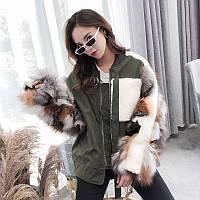 Модна куртка жіноча , хутряні рукава лисиця 2 кольори