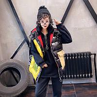 Яркая модная разноцветная жилетка с капюшоном для женщин, больших размеров 3 цв, фото 1